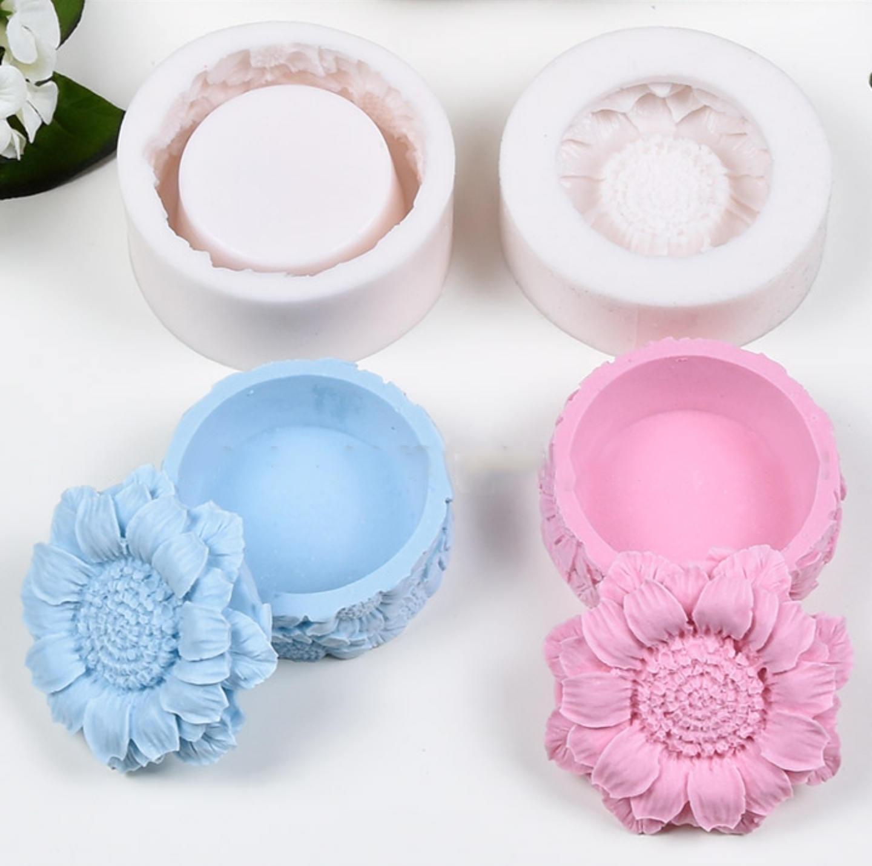 Moule Silicone Boîte à bijoux perles accessoires accessoires accessoires Fleurs Tournesol Pâte Polymère Fimo Plâtre Porcelaine Savon Argile Polyester Ciment K365 00ac30