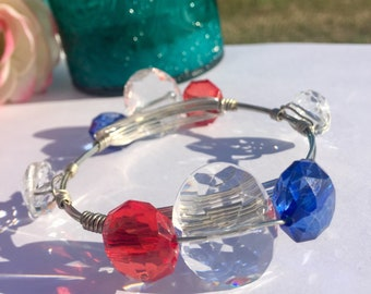 4th of July**Independence Day**Wire Wrapped Bangle Bracelet