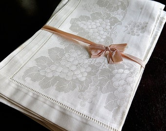 Jugendstil Damast Kopfkissen Blüten Motiv um 1900,Antique Damast Pillowcase