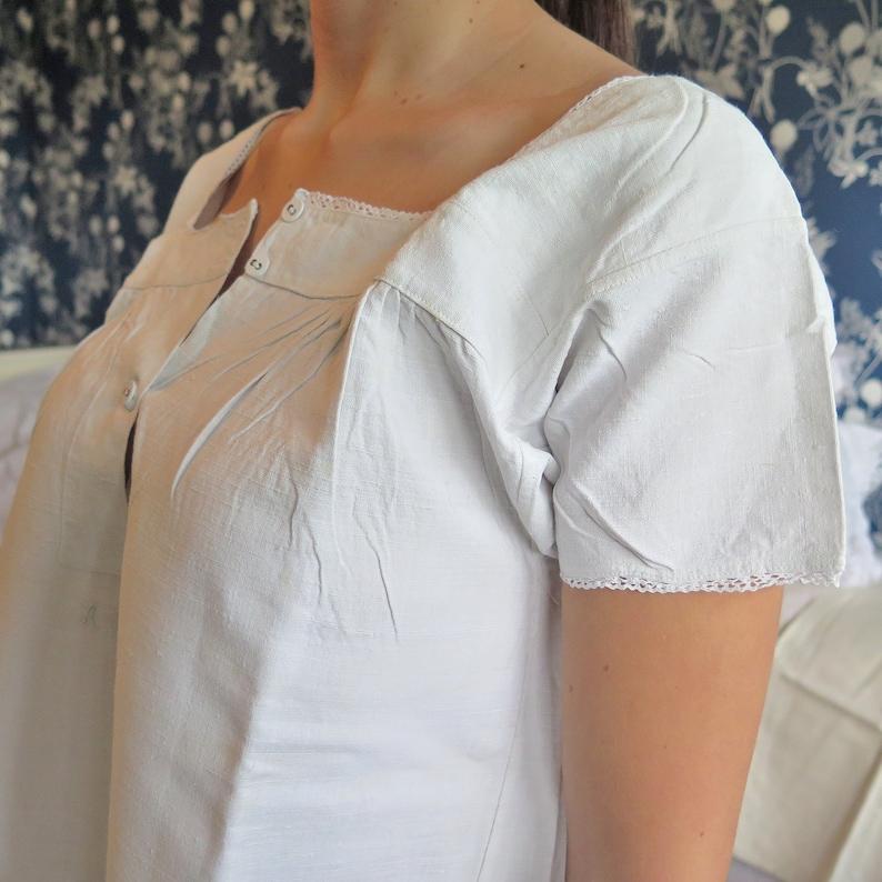 Linendress Monogramm Chemise de Nuit FREE SHIPPING Vintage Linen Nightgown