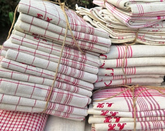Kitchen Linen - 13 handwoven Linen Towels -  Linen Napkis - Placemats - Country Cottage Kitchenstyle