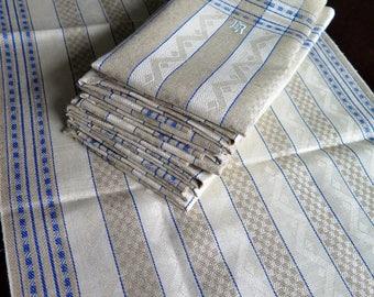 Linen Towels - 12 Pieces Linen Towels zigzag pattern - Monogram ER Linen