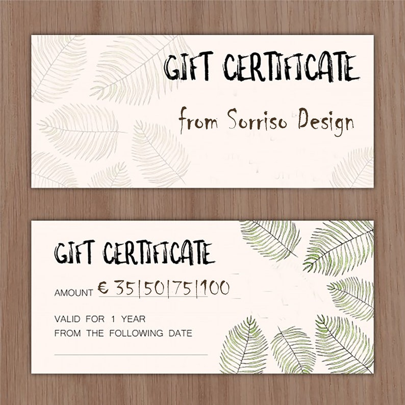 Email Gift Card 35 50 75 100 EURO Certificate Last