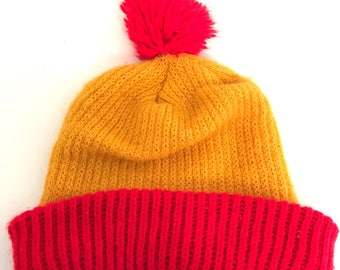 3b0824f7ade Vintage Ketchup and Mustard Knit Winter Beanie Poof Ball Hat Yellow Red