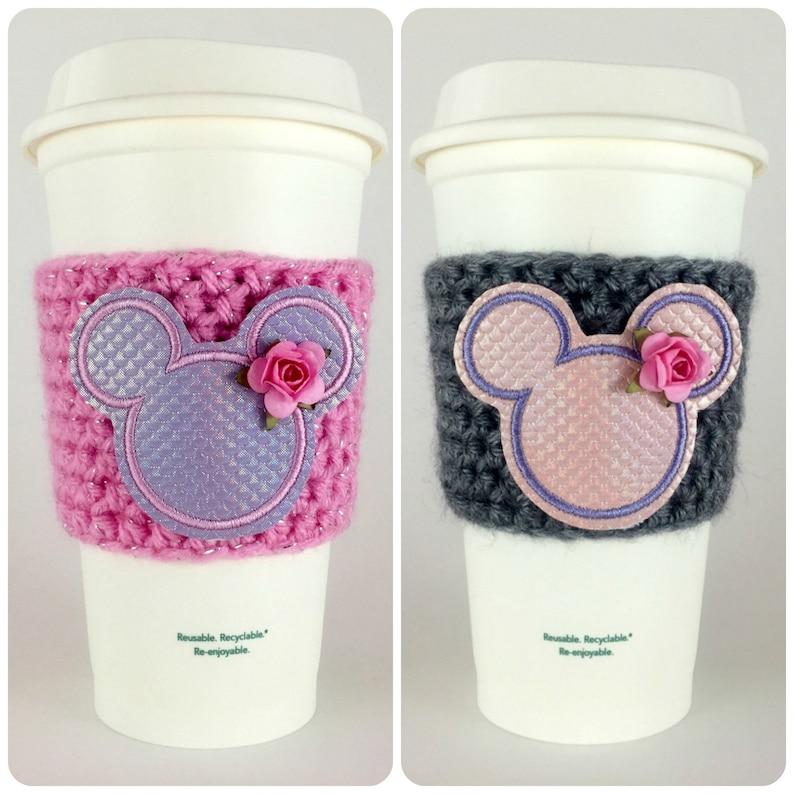 Mickey Mermaid Iridescent Scales Coffee Cup Cozy / Crochet image 0