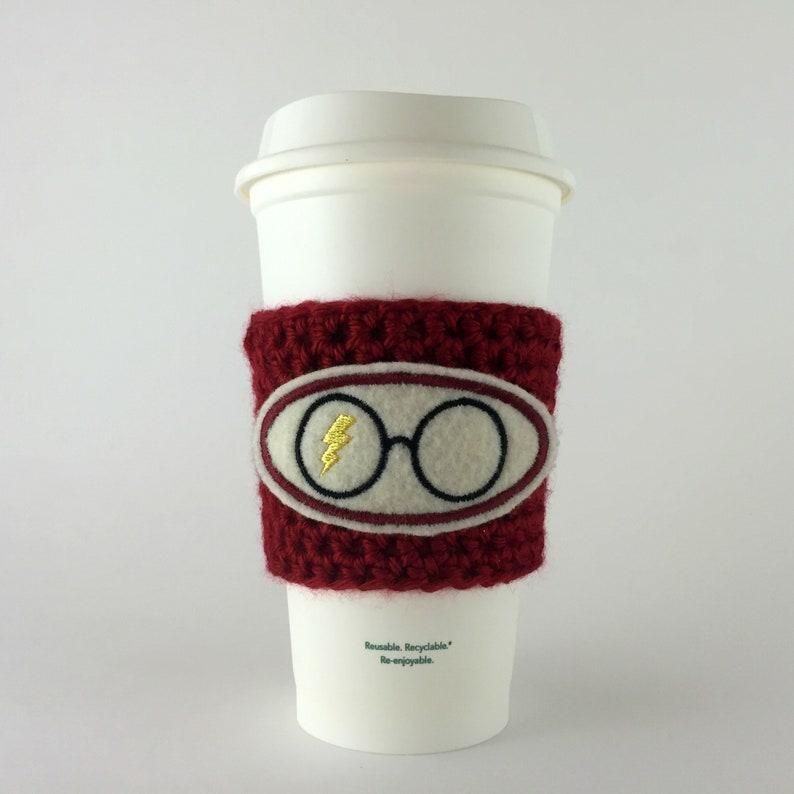 Wizard Boy Glasses Coffee Cup Cozy / Crochet Coffee Sleeve / image 0