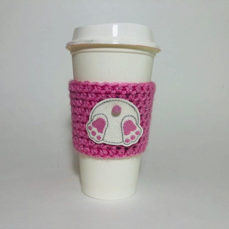 Easter Bunny Coffee Cup Cozy / Crochet Coffee Sleeve / image 0