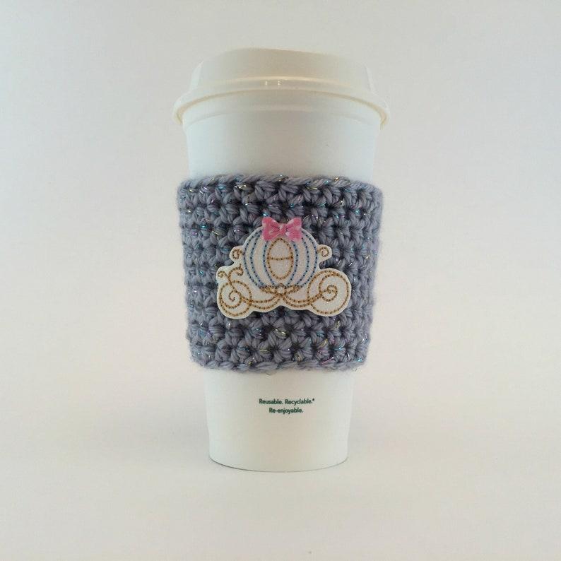 Princess Carriage Coffee Cup Cozy / Crochet Coffee Sleeve / image 0