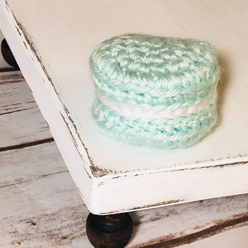 Crochet Macaron  Macaroon Tiered Tray Decor  Farmhouse Coffee Bar Decor  vignette Decor  Spring and Summer Decor