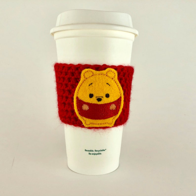 Pooh Ufufy Coffee Cup Cozy / Crochet Coffee Sleeve / Reusable image 0