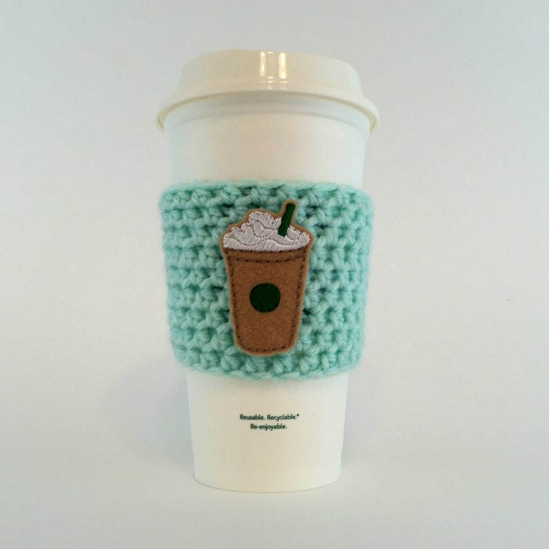Frappucinno Coffee Cup Cozy / Crochet Coffee Sleeve / Reusable image 0