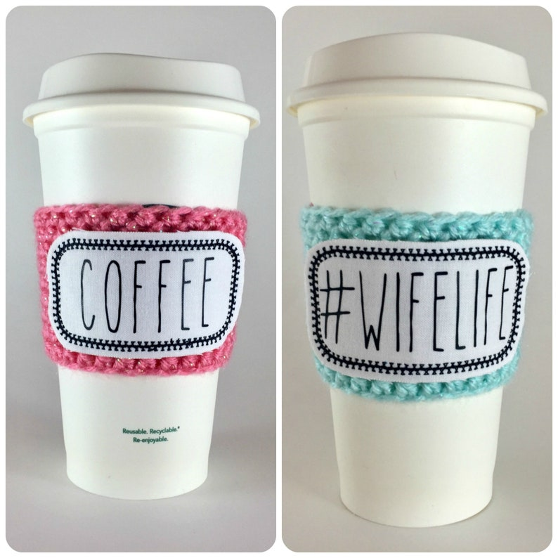 Rae Dunn Inspired Raggy Patch Coffee Cup Cozy / Crochet Coffee image 0
