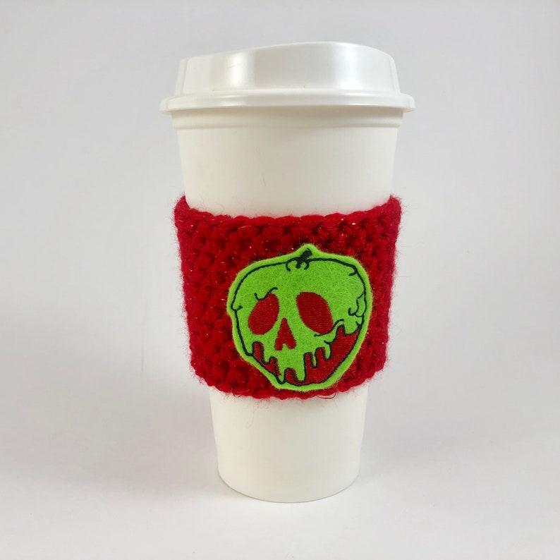 Poison Apple / Snow White Halloween Coffee Cup Cozy / Crochet image 0