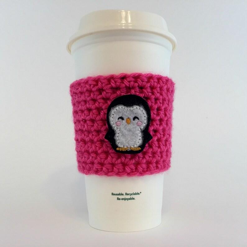 Penguin Coffee Cup Cozy / Crochet Coffee Sleeve / Reusable image 0