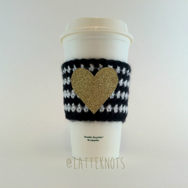 Glitter Heart Coffee Cup Cozy / Crochet Coffee Sleeve / image 0