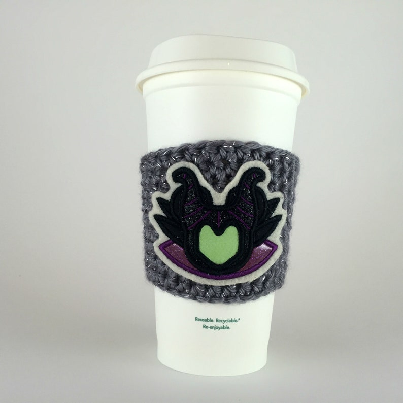 Maleficent Coffee Cup Cozy / Crochet Coffee Sleeve / Reusable image 0