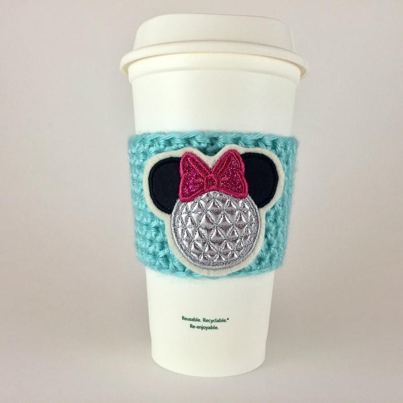 Minnie Epcot Ball Coffee Cup Cozy / Crochet Coffee Sleeve / image 0