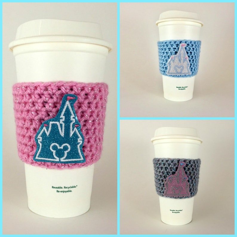 Cinderella Castle Coffee Cup Cozy / Crochet Coffee Sleeve / image 0