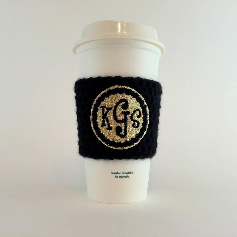 Monogram Coffee Cup Cozy / Crochet Coffee Sleeve / Reusable image 0