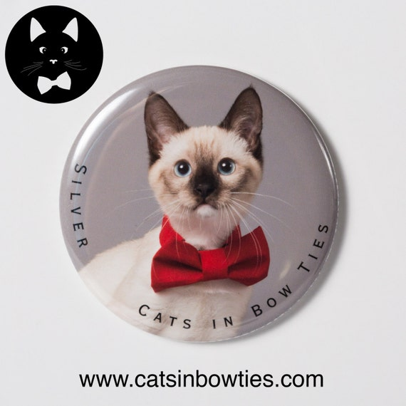 Cats in Bow Ties - 2.5in Limited Edition Magnet - Silver