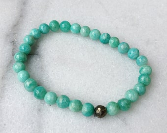 Amazonite and Pyrite Crystal Stretch Bracelet