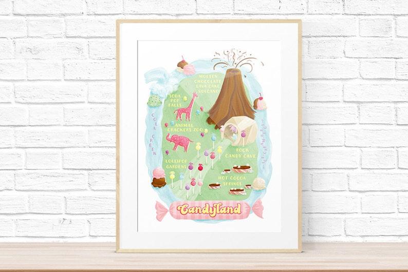 Map of Candyland Art Print Candyland Map on
