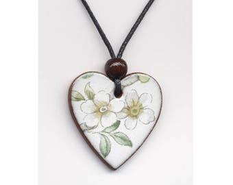 White  floral Pendant Necklace, Ceramic Pendant Necklace, Handmade Pendant Necklace, heart shaped pendant, floral necklace.