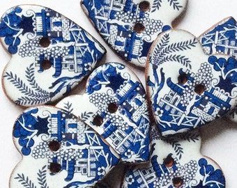 8 Willow Pattern Heart Buttons, Ceramic Buttons, Blue and White Buttons. Handmade Ceramic Buttons, Willow Pattern Designs.