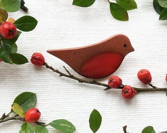 Robin Brooch, Red Robin Brooch, Handmade Ceramic Brooch, Bird Brooch.