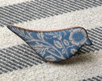 Blue Heritage Bird Brooch, William Morris Brooch, Floral Bird Brooch, Bird Jewellery, Handmade Gift.