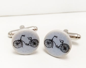 Ceramic Bike Cufflinks, Bike Cufflinks, Cycling Gifts, Handmade Ceramic Cufflinks.