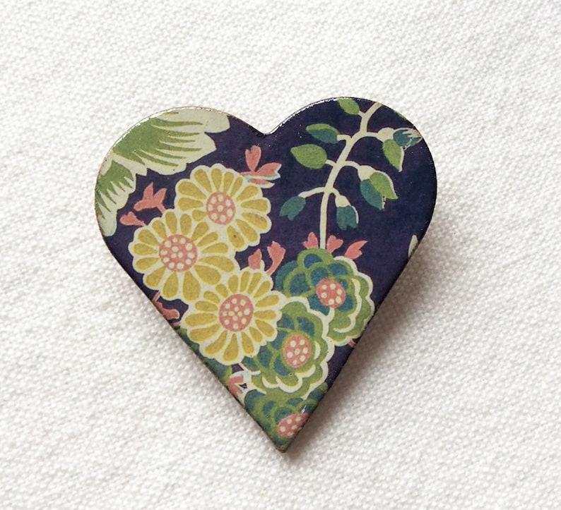Heritage Brooch Floral Heart Brooch Ceramic Brooch Warner Textile Archive Brooch Flower Brooch Christmas Gift.