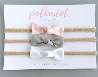 Newborn Headbands | Newborn Bows | Mini Knot Bow Set | Baby Mini Bows | Baby Headbands | Mini Bow Headbands | Mini Bows | Bow Set | Mini Bow