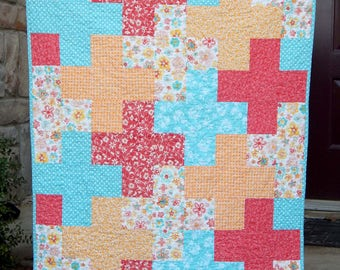 Baby Girl Quilt, Crib Quilt, Orange and Teal Quilt, Aqua Quilt, Baby Gift, Handmade Quilts for Sale, Baby Blanket, Modern Baby Quilt