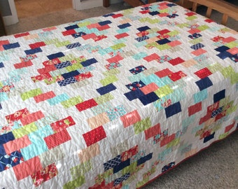 Twin Quilt, Modern Quilt,  Red, Blue and Green, Girl Quilt, Handmade Quilt for Sale, Bedding Blanket, Homemade Bed Quilt, Ready to Ship