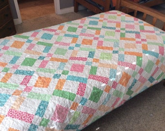 Twin Size Quilt Purple Quilt Turquoise Quilt Handmade Etsy