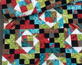 Modern Lap Quilt, Black and Red Quilt, Blue, Green, Handmade Quilt, Homemade Blanket, Throw