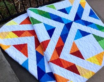 Rainbow Quilt, Modern Lap Quilt, Quilts for Sale, Handmade Quilt, Ready to Ship, Rainbow Blanket
