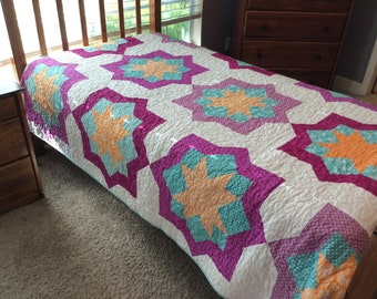 Twin Size Quilt, Purple Quilt, Turquoise Quilt, Handmade Quilts for Sale, Modern Quilt, Star Quilt, Girl Quilt, Bedding Bed Blanket