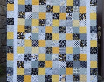 Custom Quilt, Made to Order in your colors, Patchwork Quilt, Modern Lap, Twin, Queen, King, Bed Quilt, Homemade Blanket, Bedding