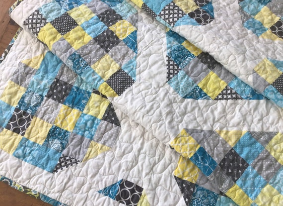 Blue Quilt Floral Quilts for Sale Daffodil Quilt Yellow Quilt Plus Quilt Modern Lap Quilt