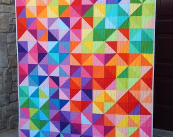 Made to Order, Rainbow Quilt, Modern Lap Quilt, Twin, Queen, King, Postcard From Sweden, Handmade Blanket, Bedding, Custom Quilts for Sale