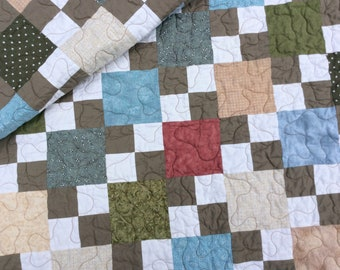 Modern Lap Quilt, Handmade Throw Blanket, 4 Patch, Patchwork Quilt, Quilts for Sale, Throw, Quilt for a Man, Ready to Ship
