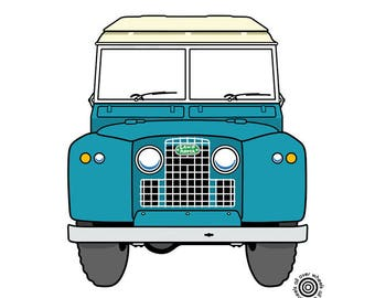 e54e82c1418 Vintage LAND ROVER T-SHIRT! classic Land Rover series ll Choice of car and  t-shirt colors! Original art by Wheels All Over Landie tee