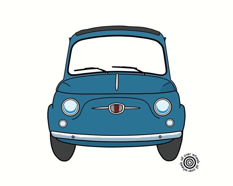 T Shirt Fiat 500 Scelta Tra I Colori D Epoca Fiat Nuova 500 Dtg Stampato Arte Classica Fiat Originale Di Wheelsallover
