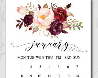 Printable Monthly Calendar 2018, Printable calendar 2018, Watercolor Flowers Calendar, A4, Digital Calendar, Instant Download