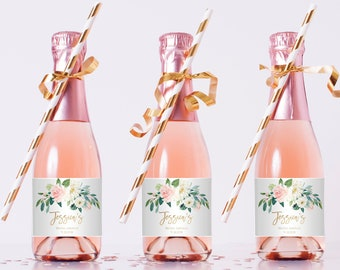 blush and white flowers mini champagne bottle template gold wine label bridal shower favor sticker fully editable templett 042