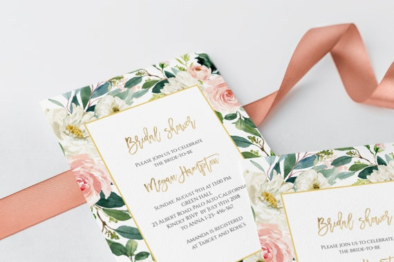 Blush And White Flowers Bridal Shower Invitation Template Etsy