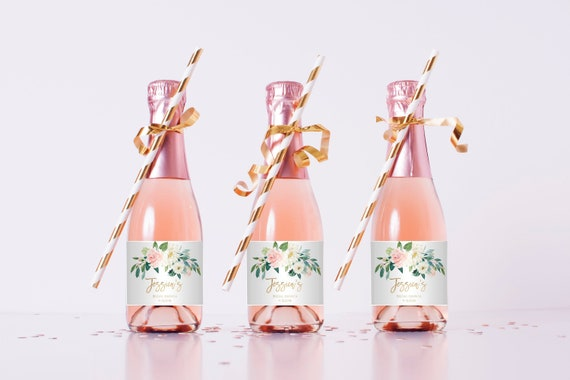 Blush And White Flowers Mini Champagne Bottle Template Gold Etsy