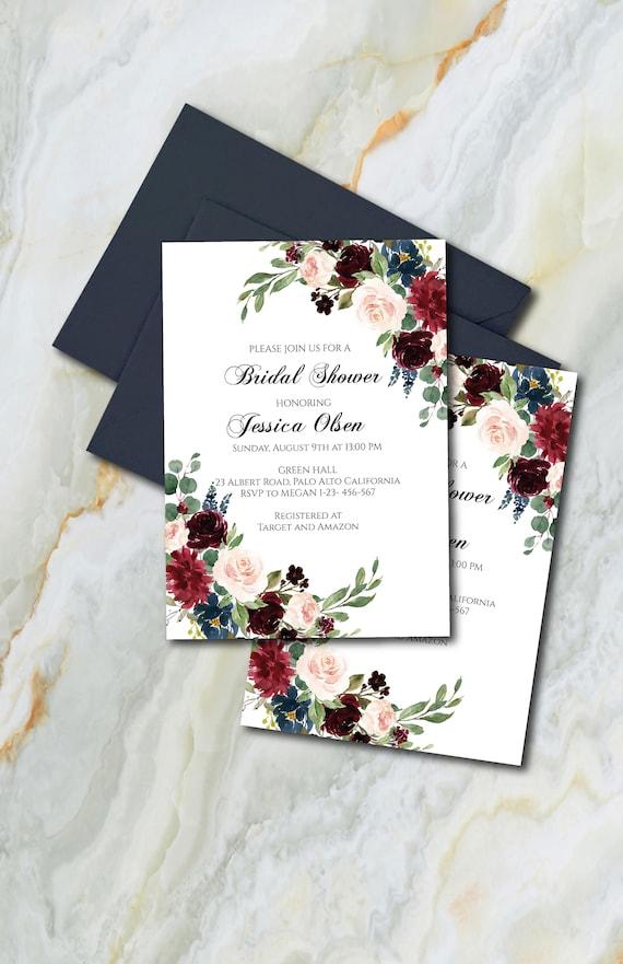 Burgundy And Navy Blue Bridal Shower Invitation Template Etsy